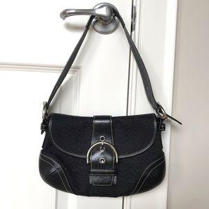 COACH black & silver handbag clutch with classic C